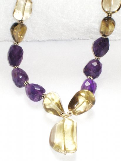 ST072       Amethyst and Smoky Quartz Necklace in Sterling Silver