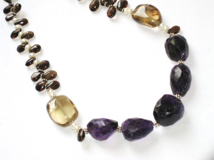 ST077       Smoky Quartz and Amethyst Necklace in Sterling Silver
