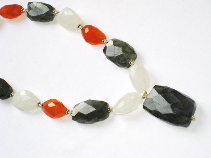 ST080       Carnelian, Moonstone, and Labradority Necklace in Sterling Silver