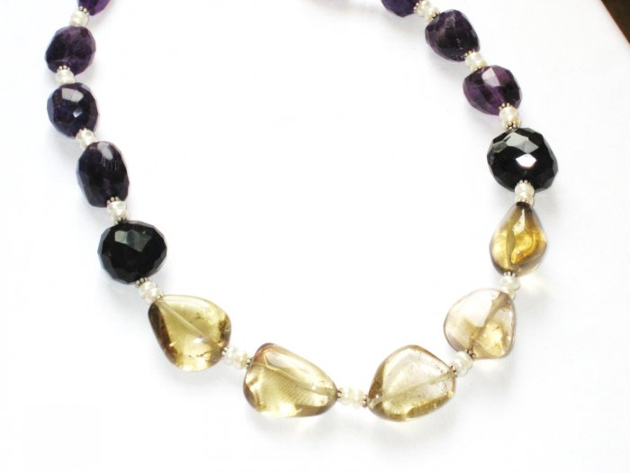 ST090       Citrine and Amethyst Necklace in Sterling Silver