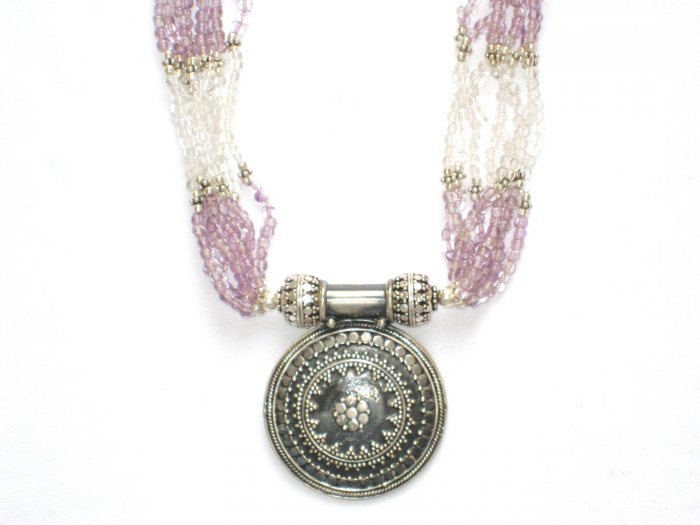 ST094       Amethyst and Moonstone Necklace in Sterling Silver