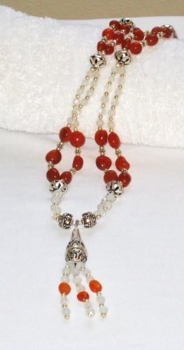 ST109       Sterling Silver Necklace with Carnelian, Citrine, Pearl, Amethyst and Onyx Beads