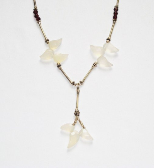 ST197       Mixed Stones Necklace in Sterling Silver