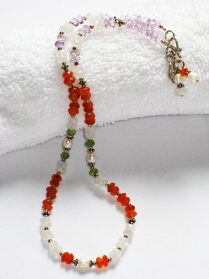 ST199       Mixed Stones Necklace in Sterling Silver