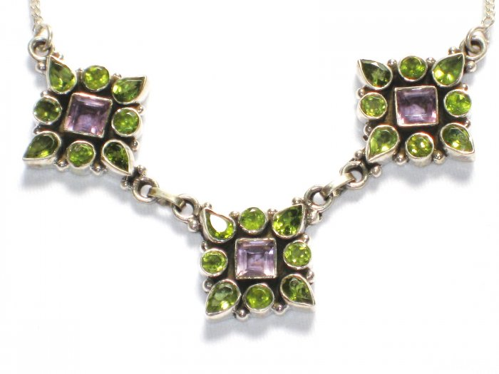 ST204       Peridot and Amethyst Cut Stone Necklace in Sterling Silver