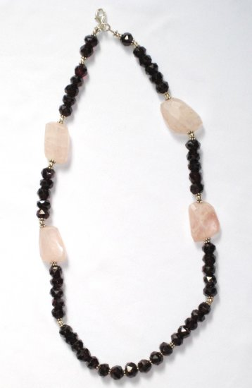 ST335       Rose Quartz and Garnet Necklace in Sterling Silver