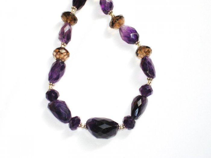 ST336       Amethyst and Smoky Quartz Necklace in Sterling Silver
