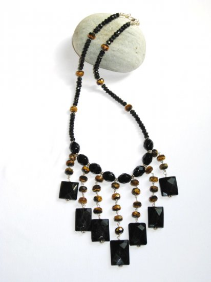 ST339       Onyx and Tigers Eye  Necklace in Sterling Silver