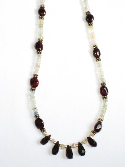 ST345       Moonstone and Garnet  Necklace in Sterling Silver