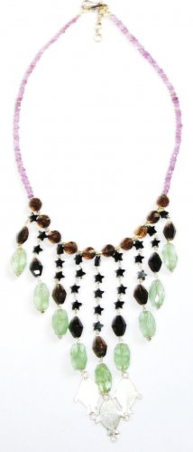 ST348       Mixed Stones  Necklace in Sterling Silver