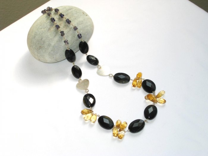 ST350       Onyx and Citrine Necklace in Sterling Silver