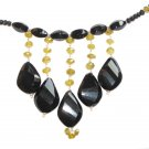 ST358       Onyx and Smoky Quartz Necklace in Sterling Silver