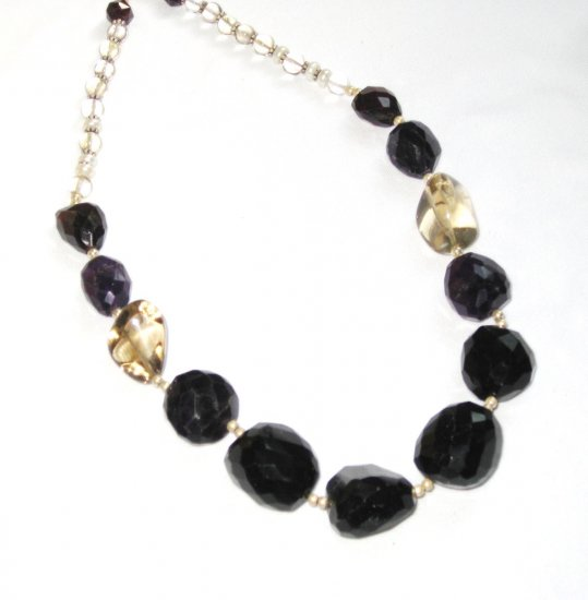 ST359       Onyx, Amethyst and Smoky Quartz Necklace in Sterling Silver
