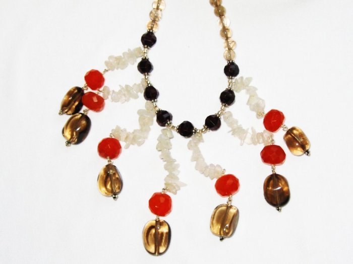 ST367       Carnelian, Moonstone and Smoky Quartz  Necklace in Sterling Silver