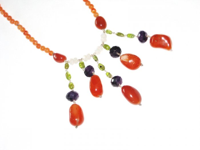 ST423       Mixed Stones  Necklace in Sterling Silver