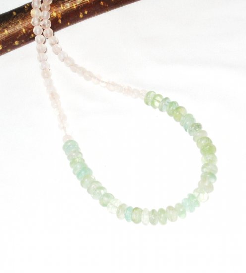 ST424       Jade and Rose Quartz  Necklace in Sterling Silver