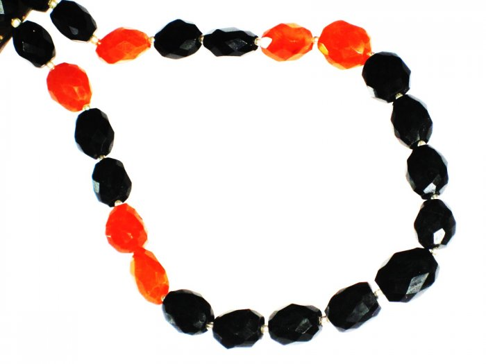 ST435       Carnelian and Onyx  Necklace in Sterling Silver