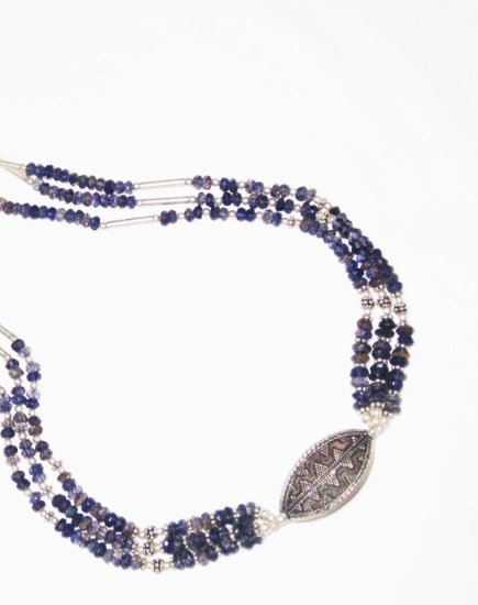 ST445       Blue CZ and Pearl  Necklace in Sterling Silver
