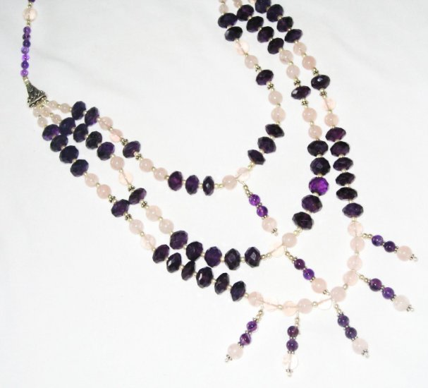 ST446       Mixed Stones  Necklace in Sterling Silver