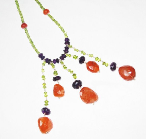 ST448       Peridot, Carnelian and Onyx  Necklace in Sterling Silver