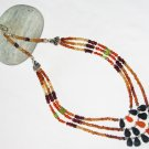 ST450       Mixed Stones  Necklace in Sterling Silver