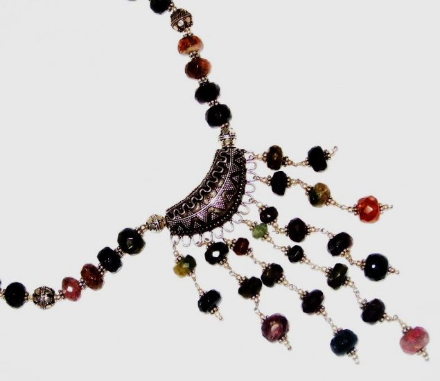 ST451       Mixed Stones  Necklace in Sterling Silver