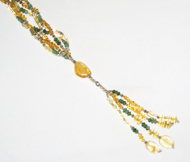 ST452       Citrine and Peridot Wrap Around  Necklace in Sterling Silver
