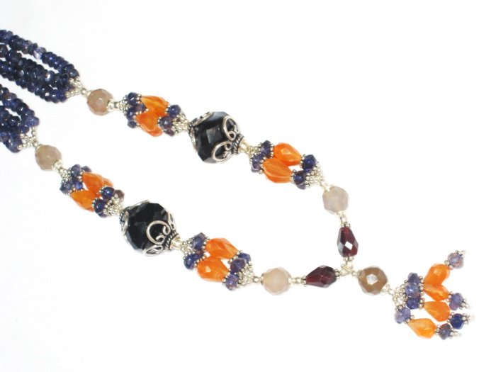 ST456       Mixed Stones  Necklace in Sterling Silver