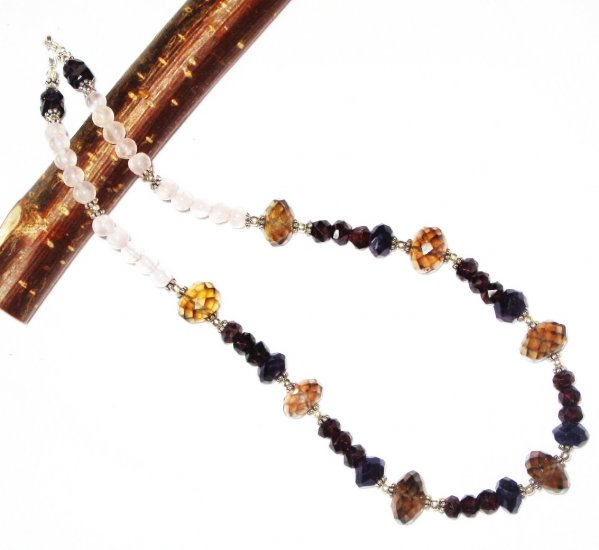 ST461       Smoky Quartz, Rose Quartz and Garnet  Necklace in Sterling Silver