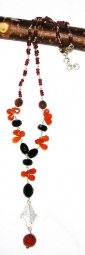 ST463       Carnelian, Onyx and Garnet  Necklace in Sterling Silver