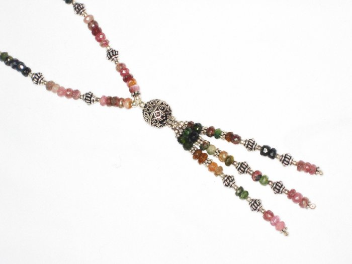ST464       Mixed Stones  Necklace in Sterling Silver