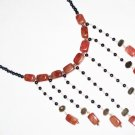 ST482       Red Jasper, Labradorite and Onyx  Necklace in Sterling Silver