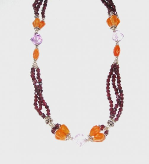 ST491       Garnet, Carnelian, and Amethyst  Necklace in Sterling Silver