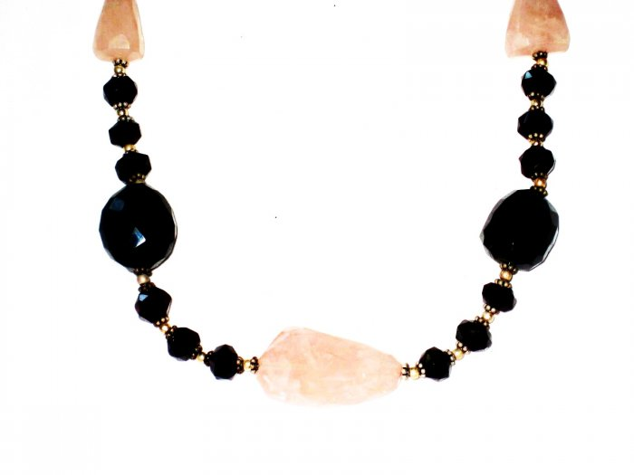 ST500       Rose Quatrtz, Onyx  Necklace in Sterling Silver
