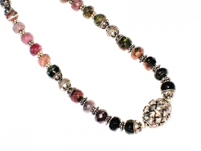 ST516       Mixed Stones  Necklace in Sterling Silver
