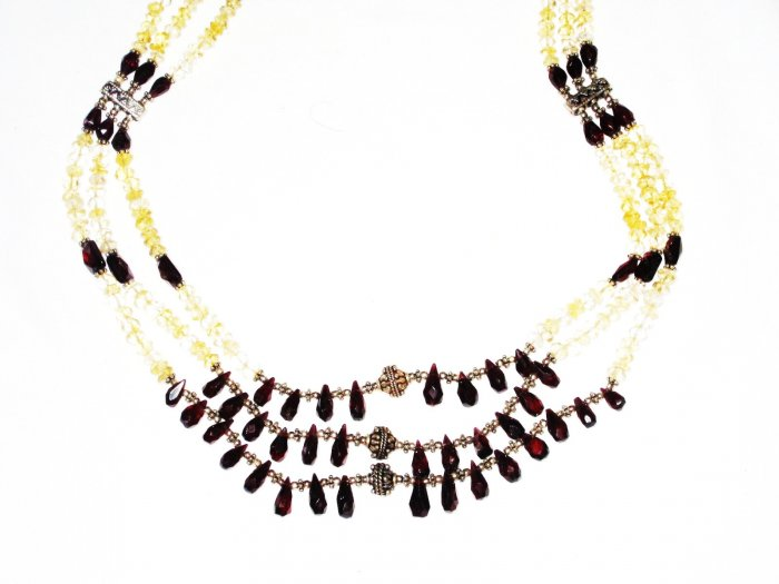 ST519       Citrine and Garnet NecklaceinSterlingSilver