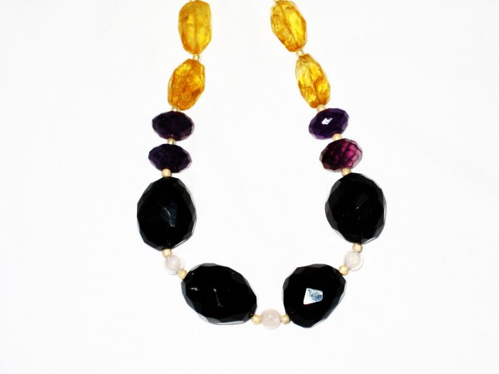 ST543       Smoky Quartz and Amethyst  Necklace in Sterling Silver