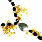 ST551       Onyx and Smoky Quartz  Necklace in Sterling Silver