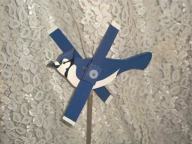 Blue Jay Whirligig- wind, motion, mobile