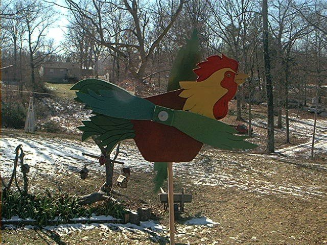 Large Colorful Rooster - Whirligig -Wind, mobile, motion
