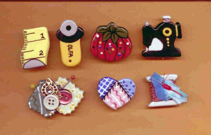 Handmade Ceramic Button Covers-(7)  SEWING THEME
