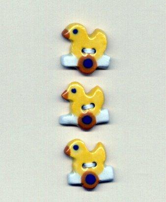 Handmade Ceramic Buttons TINY DUCKS ON WHEELS