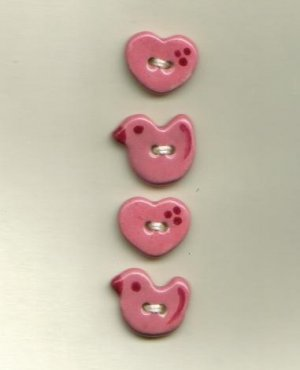 Handmade Ceramic Buttons-Tiny Puddle Ducks & Hearts