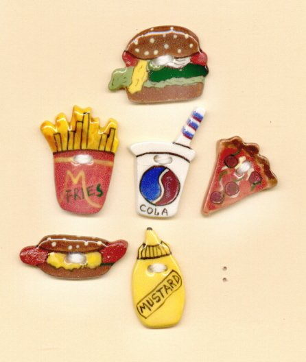 Handmade Ceramic Buttons- JUNK FOOD
