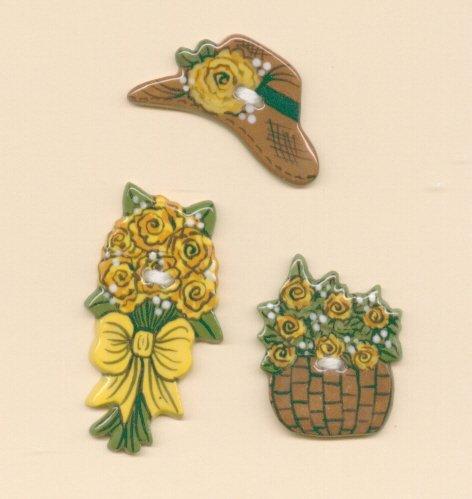 Handmade Ceramic Buttons- VICTORIAN SUMMER