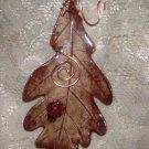 Hand- crafted Artisan Jewelry-OAK LEAF  & Ladybug Pendant or Pin