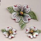 Handcrafted Artisan Jewelry  Ceramic DOGWOOD Pin & ERing Set