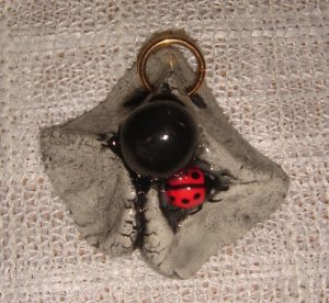 Hand- crafted Artisan Jewelry  Abstract with Ladybug