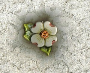 Handcrafted Sculptured Ceramic Dogwood Pendant
