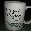 Handpainted Personalized Mug  LIFE IS GOOD FISHING